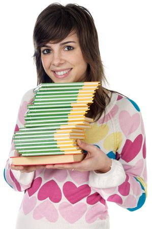 girl with books  a over white background Stock Photo - 842652
