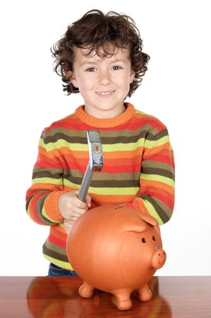 thrift box: adorable child with moneybox of piggy a over white background Stock Photo