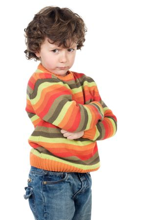 whim: boy gotten upset and sad to over a white background Stock Photo