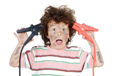 shocks: adorable child victim with electricity a over white background Stock Photo