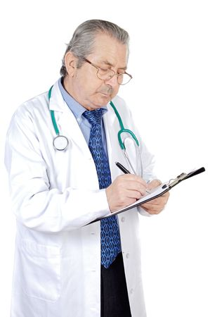 seniors doctor writing a over white background photo