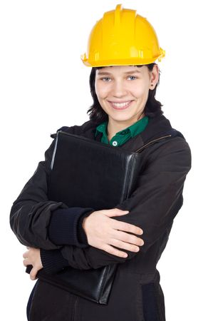autocad: Attractive young engineer over a white background