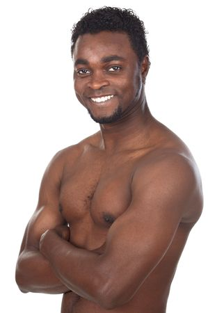 ringside: young African boy a over white background