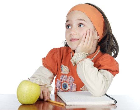 adorable girl studying in the school a over white background photo