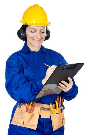 Lady construction worker a over white background with notepad  photo