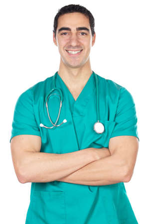 decease: happy doctor a over white back ground Stock Photo