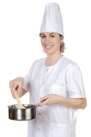 happy attractive cook woman a over white background Stock Photo - 926256