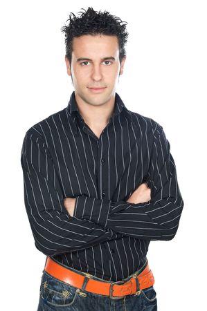 ni�o modelo: Ocasionales chico atractivo a en fondo blanco
