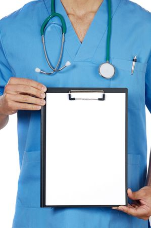 dispense: anonymous doctor whit notepad a over white background Stock Photo