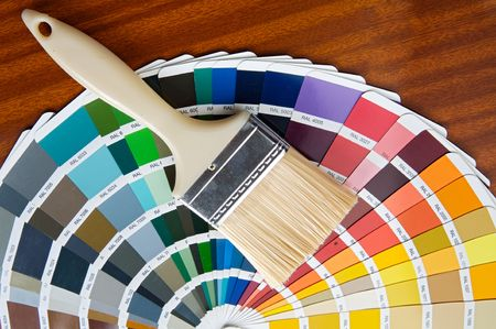 contractors: photo of Paintbrush with card of colors