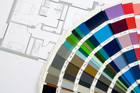 a photo of blue prints home Plans Stock Photo - 947290