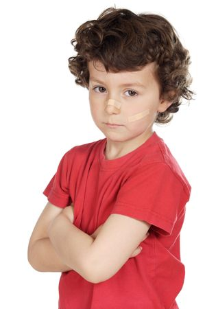 cowering: a child abuse a over white background