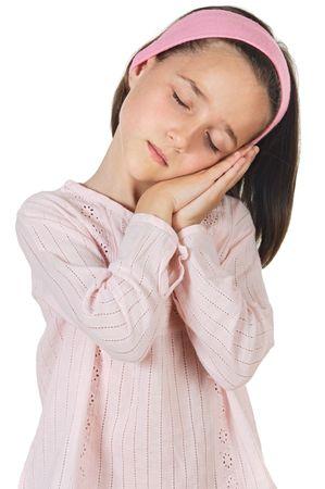 sleeping lovely girl a over white background Stock Photo - 944558