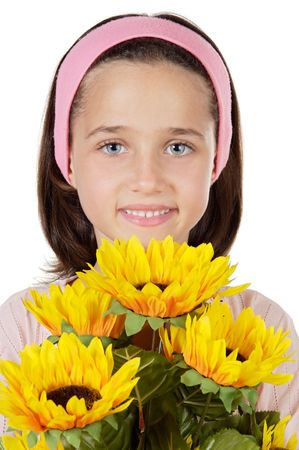 pretty girl with flowers a over white background photo
