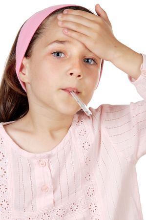 constipated: adorable girl whit thermometer a over white background Stock Photo