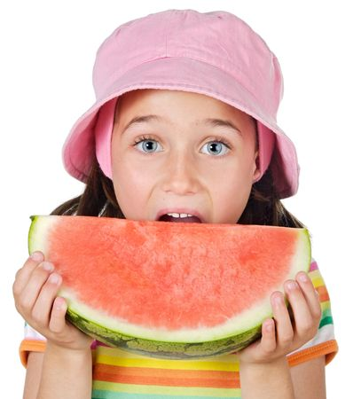 adorable girl eating watermelon a over white background photo