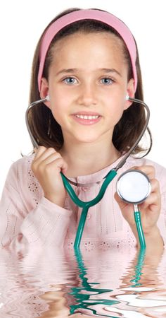Little doctor examining a over white background (focus in the stethoscope) Stock Photo - 1080218