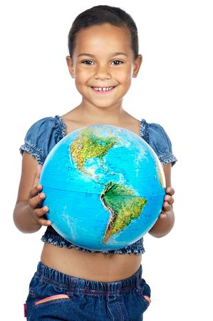 third eye: Girl with a globe of the world over white background