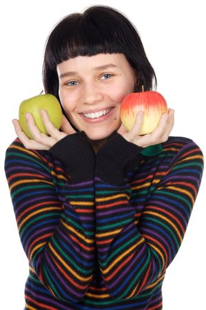 attractive adolescent with apples in the hands a over white background photo