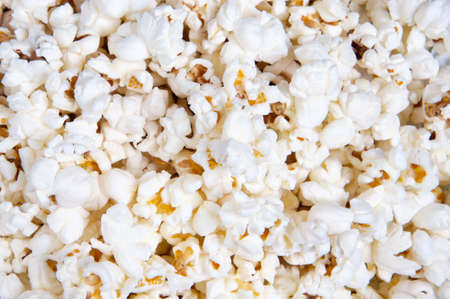 Closeup of oil popped popcorn (focus in the center) photo