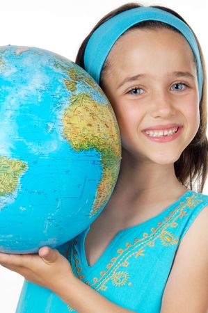 Girl with a globe of the world over white background photo