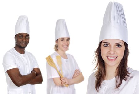 Happy cooks Team a over white background Stock Photo - 1229959