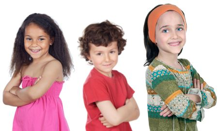 Group of happy children a over white background Stock Photo - 1261158