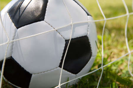 photo of a Soccer ball upon the green grass photo