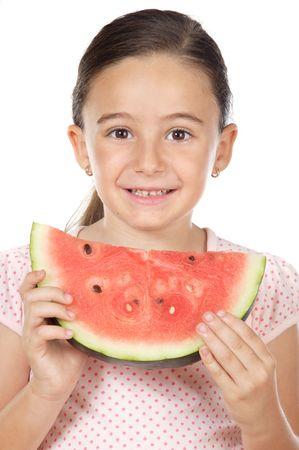 poco: Adorable niña de comer sandía a en fondo blanco