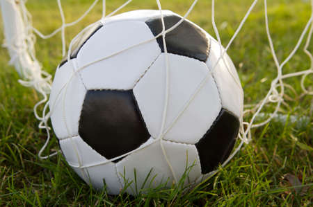 photo of a Soccer ball upon the green grass Stock Photo - 1311297