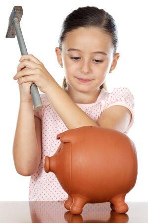 money box: photo of an adorable boy breaking the money box