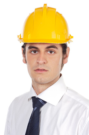 reviewing: architect a over white background whit helmet yellow Stock Photo
