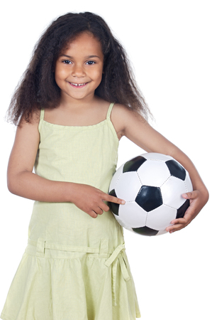 adorable girl whit ball a over white background photo