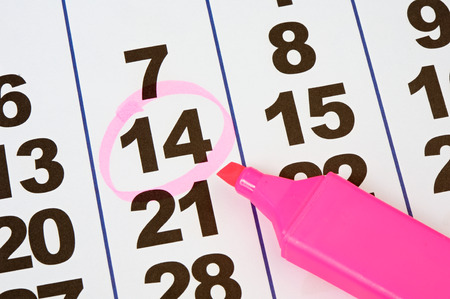 organiser: Page of the calendar and pink pencil Stock Photo