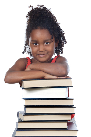 adorable girl writing a over white background Stock Photo