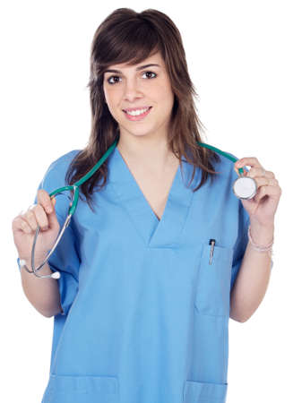 young lady doctor over a white background Stock Photo - 1536010