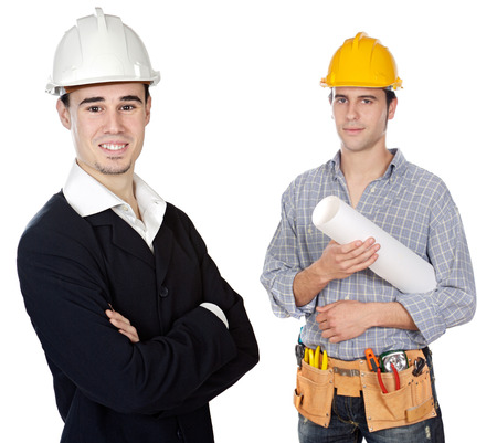 reviewing: Team of engineers a over white background Stock Photo