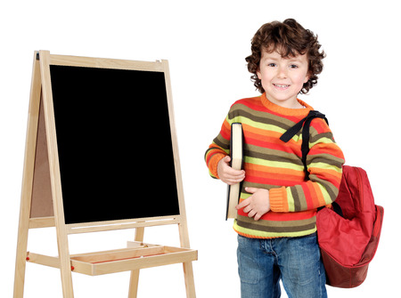 adorable child student whit slate a over white background photo