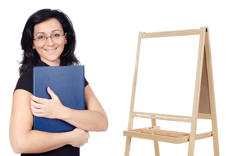 attractive teacher whit slate a over white background photo