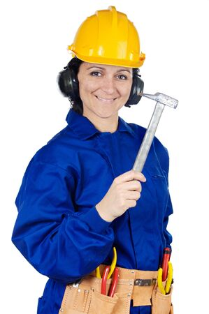 Lady construction worker a over white background  photo