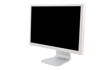 audiovisual: computer monitor in black over a white background