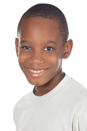 adorable African boy a over white background Stock Photo
