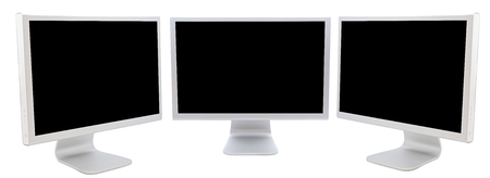three monitors of computers  in black over a white background photo
