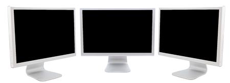 monitor de computadora: Tres monitores de las computadoras en negro sobre un fondo blanco