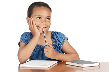 student reading: adorable girl studying in the school a over white background