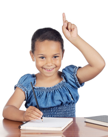 adorable girl studying in the school a over white background Stock Photo - 1648314