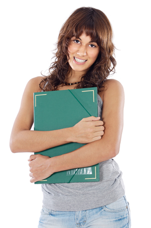 attractive girl student a over white background Stock Photo - 1665134