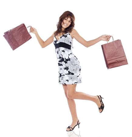 Shopping girl a over white background Stock Photo - 1675370