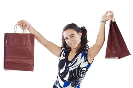 Shopping young girl a over white background Stock Photo - 1684365