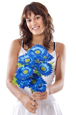 attractive girl with flowers a over white background Stock Photo - 1684369